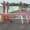 Staff photo by Cathy Spaulding<br /> Candy cane barricades used for the Garden of Lights find new purpose marking portable electric outlet poles at Love-Hatbox Sports Complex. Thousands of G Fest attendees are expected to use the outlets.