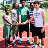 Special photo by John Hasler<br /> Tyriq Beasley, John Smith, Kamren Curl, J'mari Davis, and Dionte Crutchfield represent the 400- and 800- meter relays that will run in the Class 6A state meet Friday and Saturday at Moore. Beasley, Curl and Davis run in both, and Smith and Crutchfield are the last legs in the 800 and 400, respectively. The 400 was a regional champion and the 800 was runners-up.