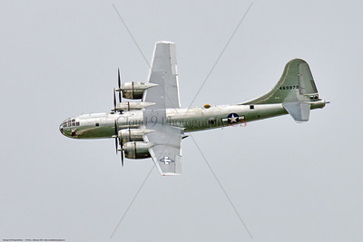"""WB-B-29 0040 A Boeing B-29 Superfortress, US Army Air Corps WWII heavy strategic bomber, warbird """"DOC"""", 469972, flying at the 2018 Thunder Over Michigan airshow, by Peter J  Mancus     851_1297     DWT"""