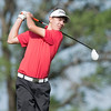 Special photo by Von Castor<br /> Hilldale's Grant Sikes tees off on the first hole at the Class 4A boys state tournament at Lake Hefner North Course on Monday.