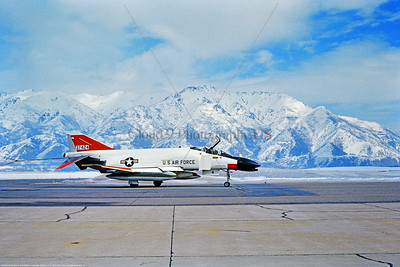 F-4IIUSAF-AFFCTC 001 A red and white McDonnell Douglas F-4C Phantom II USAF jet fighter 37424 AFFCTC rolls out dragging chute at Hill AFB 3-1973, military airplane picture by Stephen W  D  Wolf     BBB_6287     DoneWT