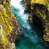 Christian Woodard paddles a spectacular canyon on the Little North Santiam River near Mill City, Oregon.