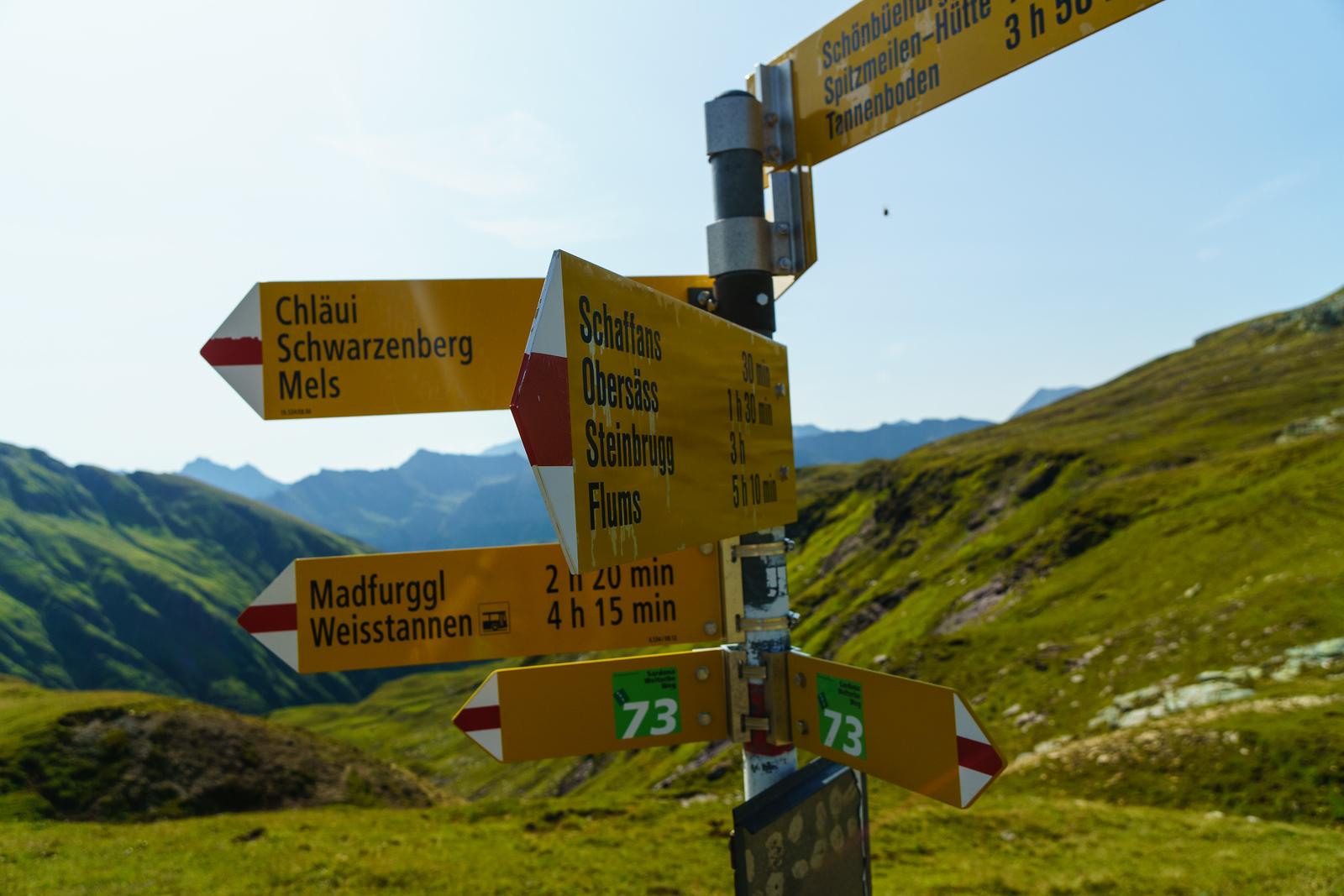 A trail sign in the Glarus region of Switzerland.