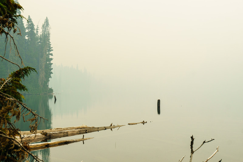 A smoky haze over Lizzie Lake near Pemberton, British Columbia.