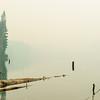 A smoky haze over Lizzie Lake near Pemberton, British Columbia.