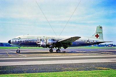 C-118-USAF 033 A static Douglas MC-118A Liftmaster USAF aero-medical evac specialized airplane, 0-33244, 322 TAW, 6-1969 Northoolt, military airplane picture by Stephen W  D  Wolf      853_7057     Dt