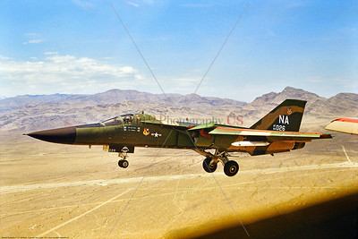 F-111USAF 0002 A General Dynamic Aardark F-111E USAF jet fighter bomber 66026 474 TFW NA code landing at Nellis AFB 7-1975 miliary airplane picture by Don Logan via Stephen W  D  Wolf coll      BBB_6131     DoneWT