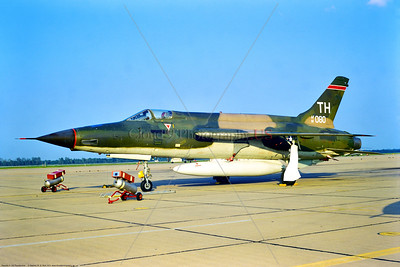 F-105D-USAF-457th TFS 001 A static Republic F-105D Thunderchief USAF 68080 457th TFS TH tail code supersonic fighter-bomber Vietnam War vet Barksdale AFB 4-1974 by Stephen W  D  Wolf     BBB_3089     DWT