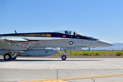 F-18E-USN-VF-105 005 A Boeing F-18E Super Hornet jet fighter USN 166650 VF-105 GUNSLINGERS CAG USS Dwight Eisenhower AC code taxis at NAS Fallon 7-2019, military airplane picture by Peter J  Mancus     854_5107     Dwt