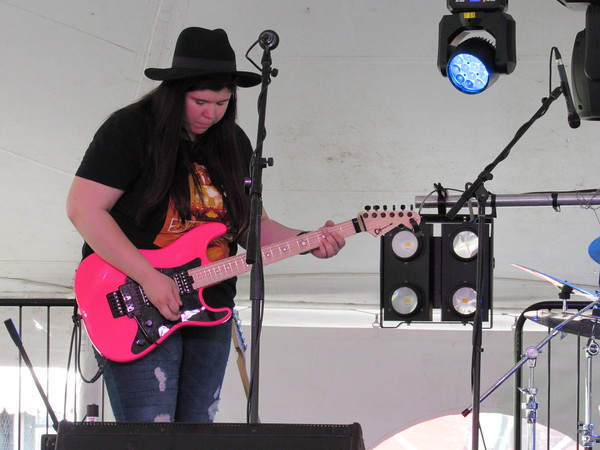 Staff photo by Cathy Spaulding<br /> Muskogee guitarist Millisa Henderson plays Thursday on the G Fest Real Okie Stage.