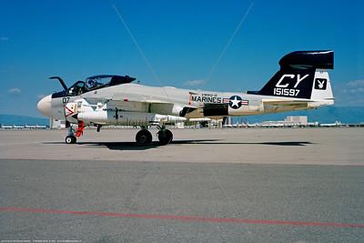 EA-6A-USMC-VMAQ-2 001 A static Grumman EA-6A Electric Intruder USMC 151597 Vietnam War era tactical ECM warfare support VMAQ-2 PLAYBOYS CY tail code NAS Moffett 1971 military airplane picture by Michael Grove, Sr     Dt