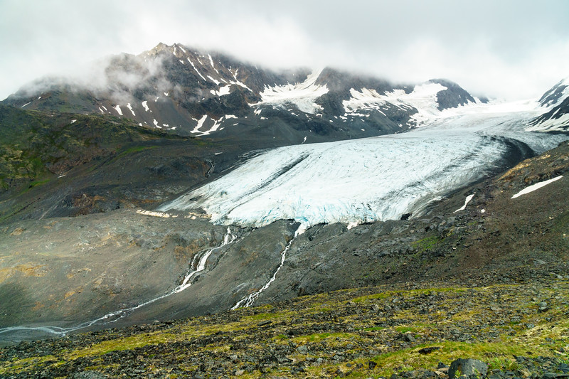 The Raven Glacier, seated at the headwaters of the Eagle River just below Crow Pass near Girdwood, Alaska.