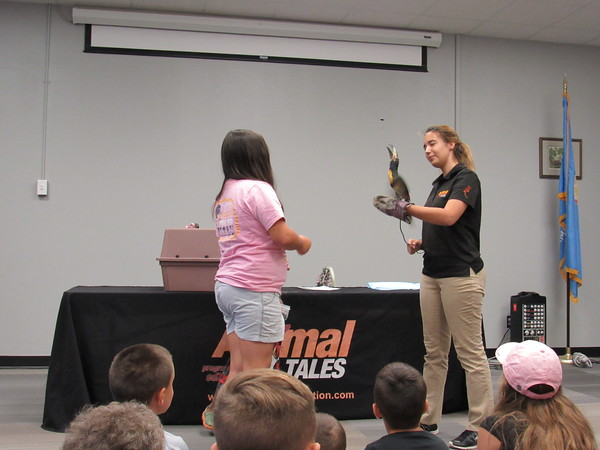 Staff photo by Cathy Spaulding<br /> A toucan held by biologist Vickie Arvello prepares to catch a blueberry tossed by a youngster at an Animal Tales presentation Friday at Muskogee Public Library.