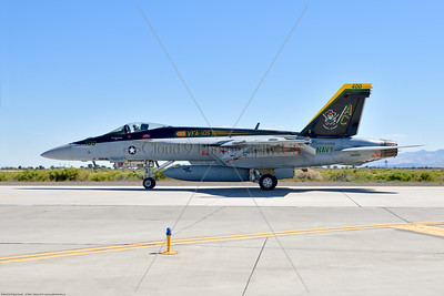 F-18E-USN-VF-105 001 A Boeing F-18E Super Hornet jet fighter USN 166650 VF-105 GUNSLINGERS CAG USS Dwight Eisenhower AC code taxis at NAS Fallon 7-2019, military airplane picture by Peter J  Mancus     852_8411     Dwt