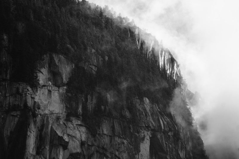 The Squamish Chieftan, covered in fog -- as is often the case.