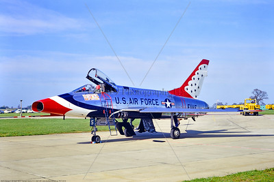 TB-F-100 00003 A static North American F-100D Super Sabre USAF Thunderbirds jet fighter U Heyford 5-1967 military airplane picture by Stephen W  D  Wofl     853_3837     DoneWT