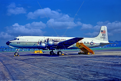 C-118-USN-RV-VR-51 001 A static Douglas C-118B Liftmaster, USN 131610, VR-51 WINDJAMMERS, 10-1971 Lyneham, military airplane picture by Stephen W  D  Wolf     11A_3024     Dt