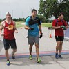 Special photo by John Hasler<br /> Ben Barton, left, Kevin Dux, and Caliean Carlberg win the men's long adventure race.