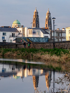 Royal Canal at Mullingar, with the Cathedral of Christ the King in the background