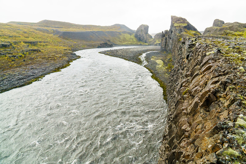 Beautiful basalt and a river canyon in Hljóðaklettar, Iceland.