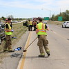Staff photo by Harrison Grimwood<br /> Three people were transported early Friday afternoon to EASTAR Health System after a rear-end collision on Shawnee Bypass near the intersection of North Country Club Road, Muskogee Police Officer Jason Steele said. A black Ford truck, driven by a Terry Bruner, rear-ended a Nissan sports utility vehicle, driven by Sabrina Collins. Bruner, Collins, and Collins' passenger, Christopher Story, were transported to the hospital for treatment, Steele said. Story and Collins were treated and released. Bruner's condition was unavailable.