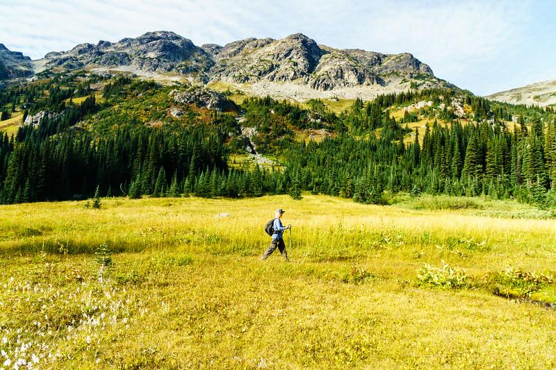 Josephine Wright hiking near Tenquille Lake above Pemberton, British Columbia.