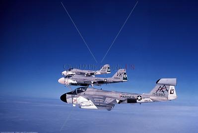 EA-6A-USMC-VMCJ-2  0006 A flying USMC Grumman EA-6A Electric Intruder, 156992, tactical ECM warfare support, VMCJ-2 PLAYBOYS, AA tail code, USS Forrestal, circa 1970's, military airplane picture by Robert L Lawson     Dt