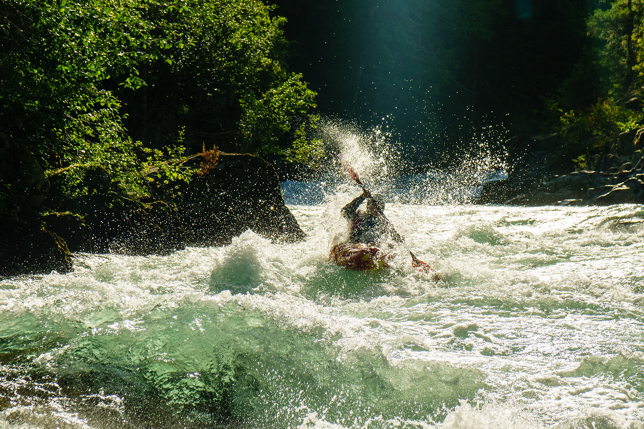 Daphnee Tuzlak on a late afternoon lap on the Upper Cheakamus in Whistler, British Columbia.