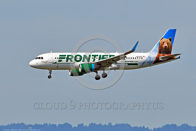 A320 00006 An Airbus A320 FRONTIER N227FR jet airliner on final approach to land 6-2016 jet airliner picture by Peter J  Mancus