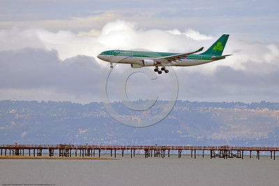 A330 00010 An Airbus A330 AER LINGUS EI-DAA jet airliner lands at SFO 6-2016 jet airliner picture by Peter J  Mancus