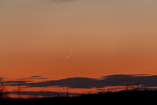 One day old Moon and Venus
