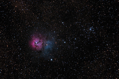 M20 the Trifid Nebula and open cluster M21