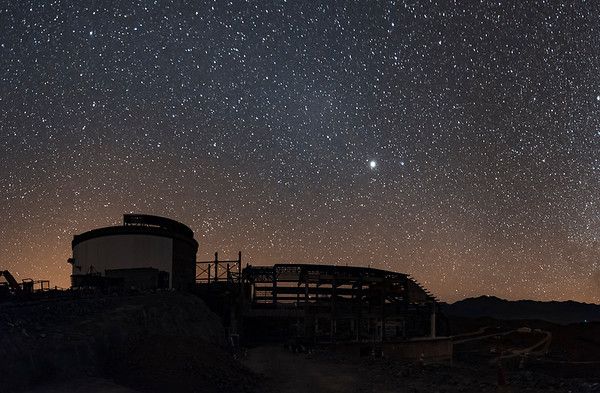 LSST under construction with the Gegenschein in Virgo to the left of Jupiter and Spica