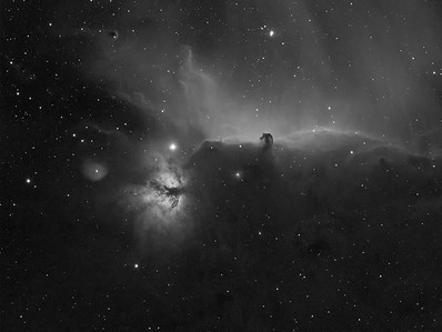 Flame and Horsehead in Orion's belt in Hydrogen Alpha