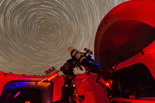 Star Trails around Polaris from the SkyShed Pod