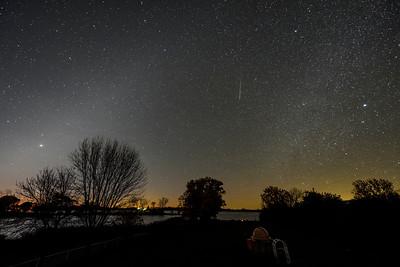 Zodiacal Light, Jupiter,  Meteor, Winter Milky Way