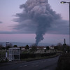 View of huge Govan fire from Barrhead<br /> 5th March 2017