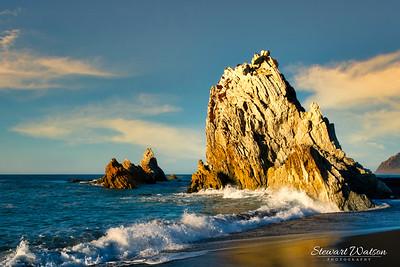 Magical early light on White Rock on the Wairarapa Coast