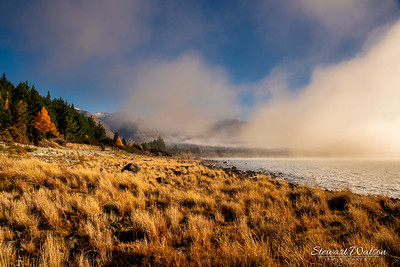 Misty foggy start to a cold nice day at Lake Ohau
