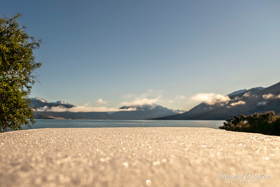 BBQ table by the beach at Lake Ohau on a cold frosty morning