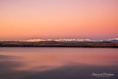 Lake Pukaki sunset panorama