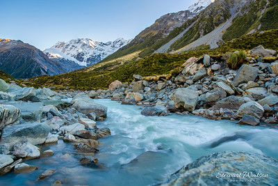 Strong flow of water exiting the Hooker Lake and into the Hooker river that flows through the valley