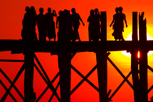 Sunset at the U Bein Bridge  - Taungthaman Lake, Amarapura, Myanmar