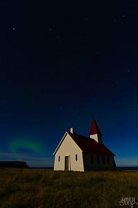 Aurora Borealis over Breidavik Kyrk
