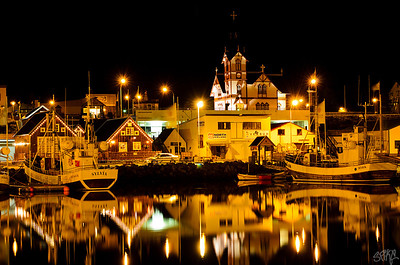 Husavik harbor nights