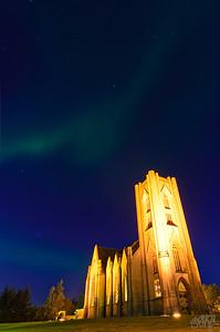 Aurora Borealis over Landakotskirkja