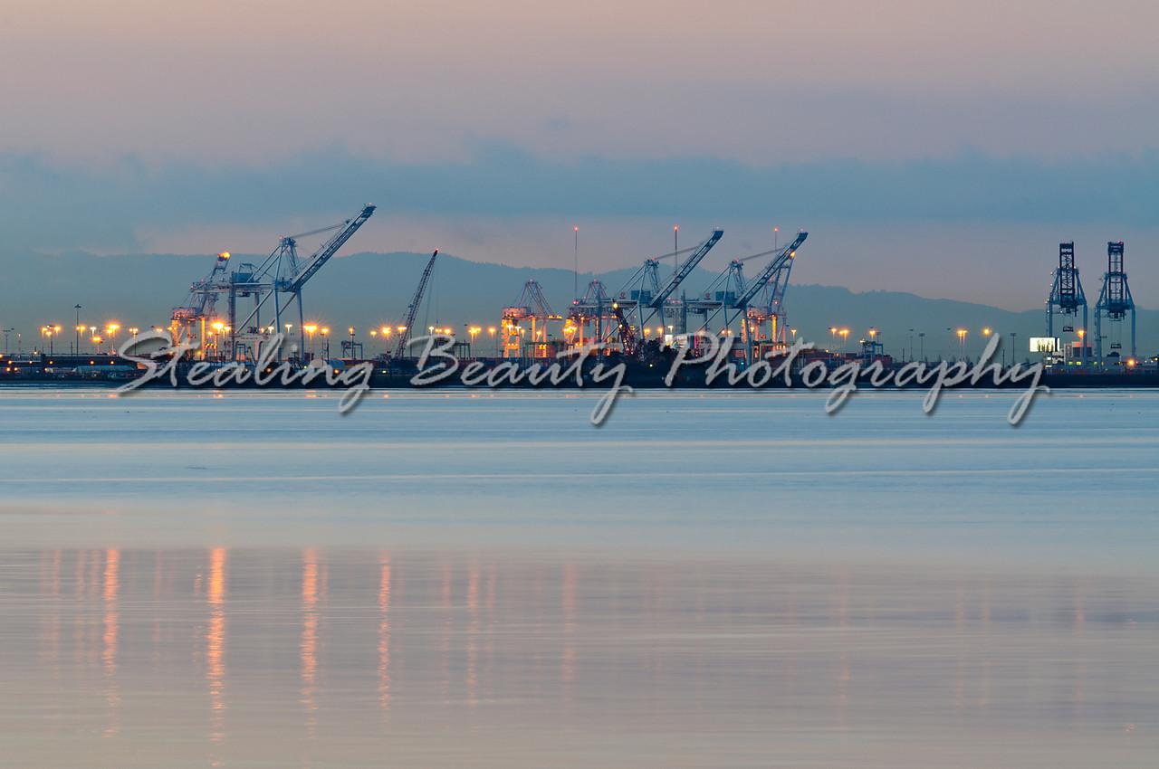 Oakland docks at dawn