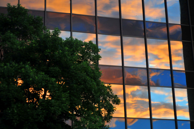 Sunrise reflecting in a building near Downtown Denver