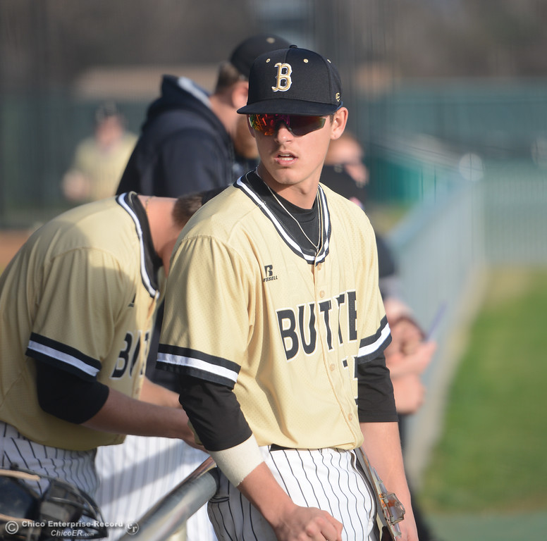 . Butte\'s James Wiseman talks to his teammates in the dugout during Butte\'s game against Folsom at Butte College, Saturday, January 27, 2018, in Chico, California. (Carin Dorghalli -- Enterprise-Record)