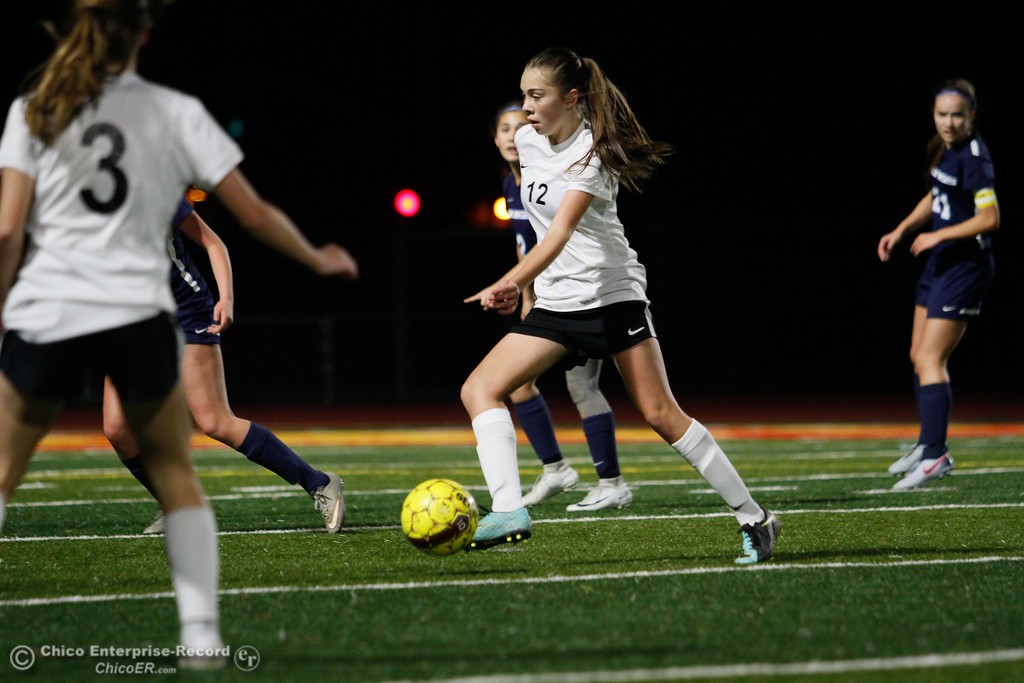 . Chico High\'s Karina Diaz (12) takes control of the ball, Friday, January 19, 2018  in Chico, California. (Carin Dorghalli -- Enterprise-Record)